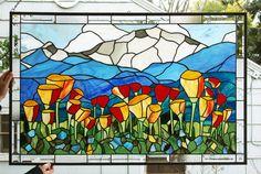 Mountain Scenic California Poppies 41 x by StainedGlassArtist