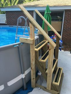 Above Ground Pool Steps for Decks . Above Ground Pool Steps for Decks . Ground Pool Everything You Need to Know Above Ground Pool Stairs, Best Above Ground Pool, Above Ground Pool Landscaping, Backyard Pool Landscaping, Backyard Ideas, Landscaping Rocks, Pool Fence, Landscaping Design, Pallet Patio