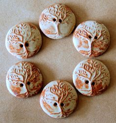 Handmade Stoneware Buttons - Tree of Life