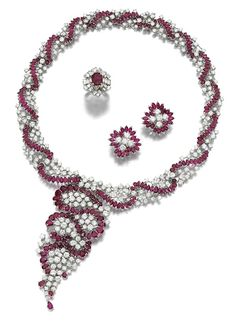 Ruby And Diamond Demi-Parure Comprising Of A Necklace, Earrings And Ring  -  Sotheby's