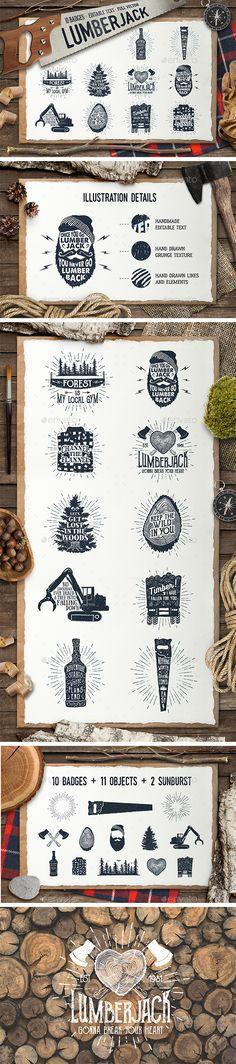 Lumberjack. Vintage Badges (Part 2)  #template #hand drawn • Download ➝ https://graphicriver.net/item/lumberjack-vintage-badges-part-2/17947988?ref=pxcr