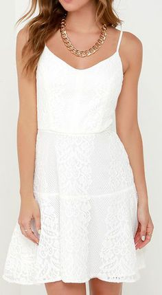 Glimmer of Glamour Ivory Lace Dress