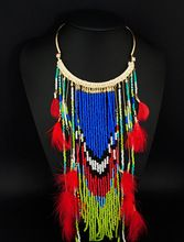 boho chic style native american indian boho feather red ethnic necklace collier indian bead necklaces tribal turkish jewelry(China (Mainland))