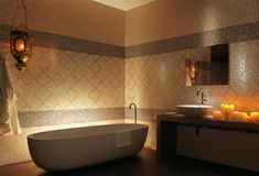 Fap Ceramiche has great custom tile from Italy, very unusual, unlimited possibilities with this company for bathrooms or kitchens. Illuminated bath tub.