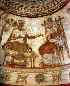 """The Thracian ruler and the noble Thracian woman from the """"Funerary Feast"""" scene - Thracian Tomb near Kazanlak (5th - 3rd Century B.C.)."""
