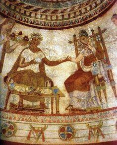 "The Thracian ruler and the noble Thracian woman from the ""Funerary Feast"" scene - Thracian Tomb near Kazanlak, Bulgaria(5th - 3rd Century B.C.). #Thracian #Tomb #Kazanlak #Bulgaria"