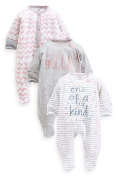 Buy Three Pack Pink Slogans Sleepsuits (0mths-2yrs) online today at Next: United States of America