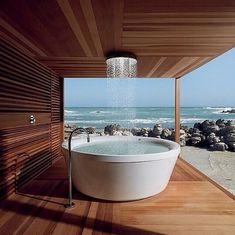 7. An outdoor bath/shower combination