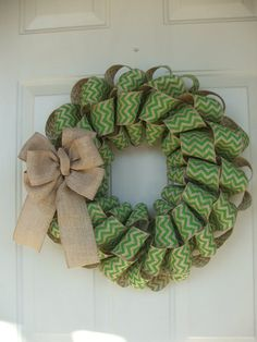 St. Patrick's Day Spring Easter Lime Green Chevron Burlap Wreath by TowerDoorDecor, $35.00