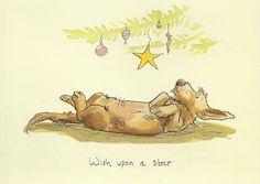 Karte mit Hund, der unter dem Weihnachtsbaum auf dem Rücken liegt und Text Wish upon a star, gezeichnet von Anita Jeram