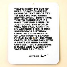 Great Blog with a bunch of good Nike Women quotes. Couldn't get my favorite one to pin, but this one is good too.