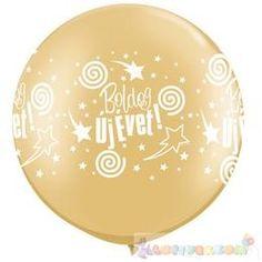 Boldog Új Évet feliratú arany szilveszteri léggömb - 76 cm