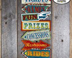 Carnival Party Arrow Signs Circus Party Arrow by frostingandink
