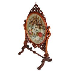 Victorian Fire Screens | ... example of a mid 19th century Victorian walnut tapestry fire screen