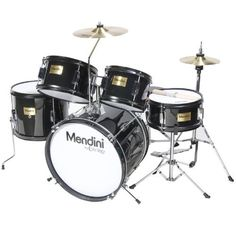 Mendini MJDS-5-BK Complete 16-Inch 5-Piece Black Junior Drum Set with Cymbals, Drumsticks and Adjustable Throne by Mendini. $173.37. Mendini by Cecilio 5-piece junior drum set is a fully functional drum set designed specifically for young drummers. It has all the same features as a full size drum set, only smaller. This set includes bass drum, floor tom, a pair of toms, snare drum, hi-hat, and crash cymbal. Young drummers will get the chance to experience as adult drum...