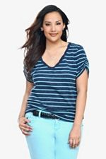Twist Tees - Navy Striped Twisted V-Neck Tee SKU: 555568