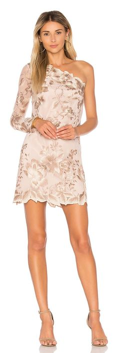 Rosalie Embroidered Mini by Free People. Rise to the occasion in the Rosalie Embroidered Mini by Free People. Shaped in a sophisticated one-shoulder silhouett. Peplum Dress, Lace Dress, Dress Up, Nude Mini Dresses, Beige Style, Costume, Revolve Clothing, All About Fashion, Pretty Dresses