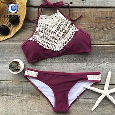 Cupshe咲く上記レースホルタービキニセット女性夏セクシーな水着レディースビーチ水着水着