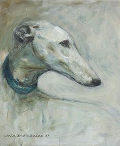 Greyhound/Galgo , mixed media on canvas, 60 x 50 cm