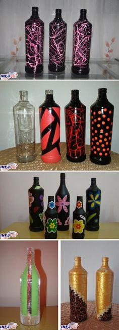 Garrafas de vidro recicladas transformadas em decoração.