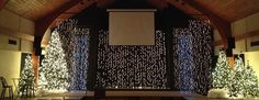 Andrea Trimbur fromValley Community Churchin Peoria, Arizona brings us these showers of Christmas lights. They decided to take advantage of the height of their stage and hang strands of lights fr...