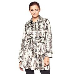 Hot in Hollywood Snake-Print Trench Coat at HSN.com