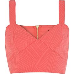 Coral textured bralet top from River Island - LOVE that Coral Is In This Season! So Pretty