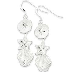 925 Sterling Silver Sand Dollar Starfish Seashell Dangle Earrings | Body Candy Body Jewelry