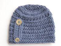 Button Beanie #Hat Free #Crochet #Pattern