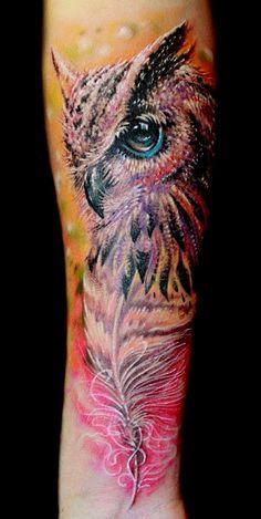 Owl tattoo on forearm new school by Oleg Rublev Owl Tattoo Back, Owl Forearm Tattoo, Forarm Tattoos, Body Art Tattoos, Tatoos, Watercolor Owl Tattoos, Owl Tattoo Drawings, Owl Feather Tattoos, Dragonfly Tattoo