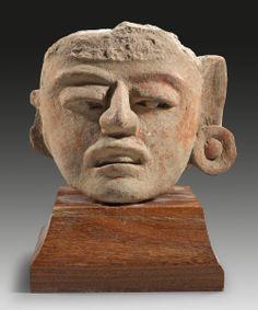 Pre-Columbian pottery head of a man. About 600 - 900 A.D., Veracruz, Mexico.