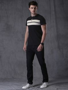 3057b98892b Buy WROGN Black   White Cotton Striped Henley T-shirt online