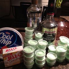 Shamrock shake pudding shots. In a large bowl, whisk together one packet of vanilla pudding, 1/4 cup vanilla vodka and 3/4 cup creme de menthe.  When this is mixed well, fold in one container of cool whip.  Spoon into clear plastic pudding shot cups and allow to chill for a few hours before serving.  These can be made a few days ahead of time.  They will hold a little longer than regular pudding because they don't have any milk.