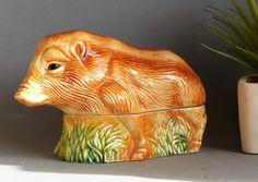 French Vintage Michel Cougant Boar Pate Terrine. Vintage Pate Dish. Boar shaped Pate Dish. Pig Collectible Figurine. BIRTHDAY GIFT. French. by JadisInTimesPast on Etsy