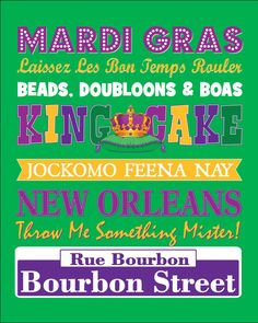 Mardi Gras Sign- Instant Download 8x10 Sign- Purple Green Gold Subway Art New Orleans