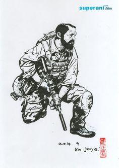 Junggi Kim, Character Art, Character Design, Military Drawings, Kim Jung, Detailed Drawings, Korean Artist, Military Art, Drawing Techniques