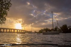 Vero Beach City at the Indian River Lagoon with Sailboat During Sunset in Florida