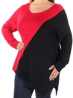 Calvin Klein Red Black Colorblock Womens Small S Scoop Neck Sweater
