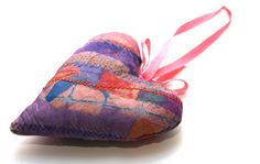 sew crafts - heart pendant - creative textiles - machine embroidery by Colouricious, via Flickr