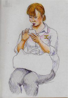 白いシャツのお姉さん(通勤電車でスケッチ) It is a sketch of a woman wearing a white shirt.  I drew in a commuter train.
