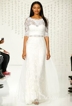 An elegant @watterswtoo wedding dress with lace sleeves   Brides.com