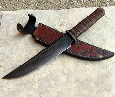 Tanto with Guard bushknife - Wildertools - Rick Marchand -- This knife gets re-pinned more than any ten others.  I repinned it myself to move it up on my board.