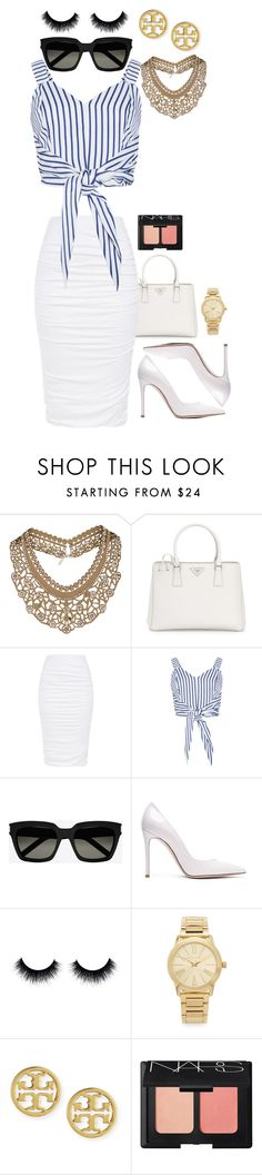 """""""Untitled #6"""" by jordan-boo ❤ liked on Polyvore featuring Topshop, Prada, Yves Saint Laurent, Gianvito Rossi, Michael Kors, Tory Burch and NARS Cosmetics"""