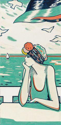 Jean Pierre Cassigneul (France b.1935) Une terrace à Deauville (1977) gouache on paper 111 x 60 cm