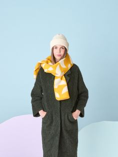 Lintuset means little birds in Finnish language. Designer: Hanna Konola Size: One size - x Color: mustard yellow with reversible pattern Material: merino wool & pure new wool Black Blanket, Pink Blanket, Finnish Language, Wool Scarf, Black Wool, Mustard Yellow, Beautiful Words, Finland, Merino Wool