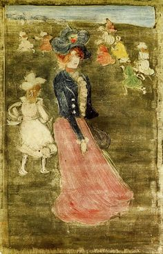 Lady in a Pink Skirt c.1896 by Maurice Prendergast