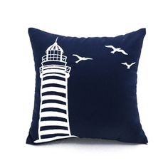 Lighthouse Pillow Cover Navy Blue Linen White by KainKain on Etsy