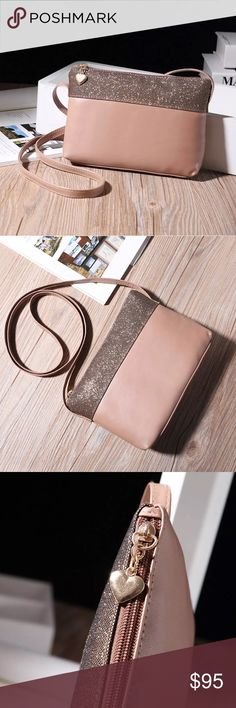 #70 NEW • \\tRINITY Squared•// Glitter stripe + leather body and strap in nude pink• light weight + convenient with room + zipper pockets//open pockets for phone//keys//wallet//make-up ::: Size:: 23x16cm • . . . . Open to reasonable offers::: Various Bundle deals available• just ask❄️ ❌Not trading, just looking to sell::: Same day shipping::: tRINITY Squared• Bags Crossbody Bags