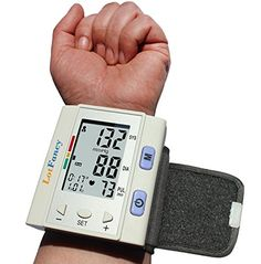 LotFancy Automatic Digital Wrist Blood Pressure Monitor with Case, Irregular Heart Rate Detector, 30x4 Memories for 4 Users, WHO Indicator, FDA Approved, Large LCD *** Find out more about the great product at the image link.
