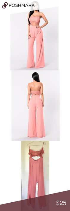 "Fashion Nova Jumpsuit ""Come Take My Hand"" Fashion Nova Jumpsuit.  New With Tags.  Rose Colored Size L; Fits True to Size; High Waist Pant Portion Strapless!  100% Polyester  Breezy Pants; Perfect for Spring!  Offers Considered! No trades! Fashion Nova Other"